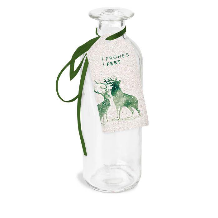 Weihnachtlicher Kofferanhänger mit Aquarell Hirschen in Grün