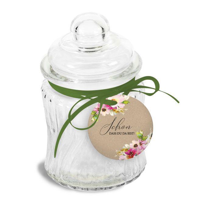 Geschenkanhänger mit bunten Aquarellblumen - Kathleen