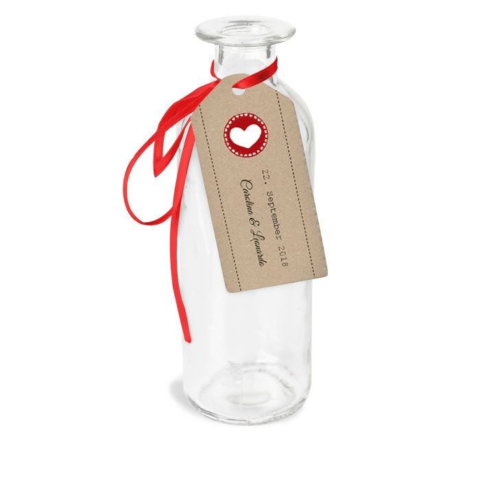 Gastgeschenkanhänger zur Hochzeit: Kraftpapierlook mit Herz