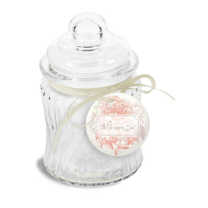 Runder Geschenkanhänger zur Hochzeit mit Blumen in Apricot