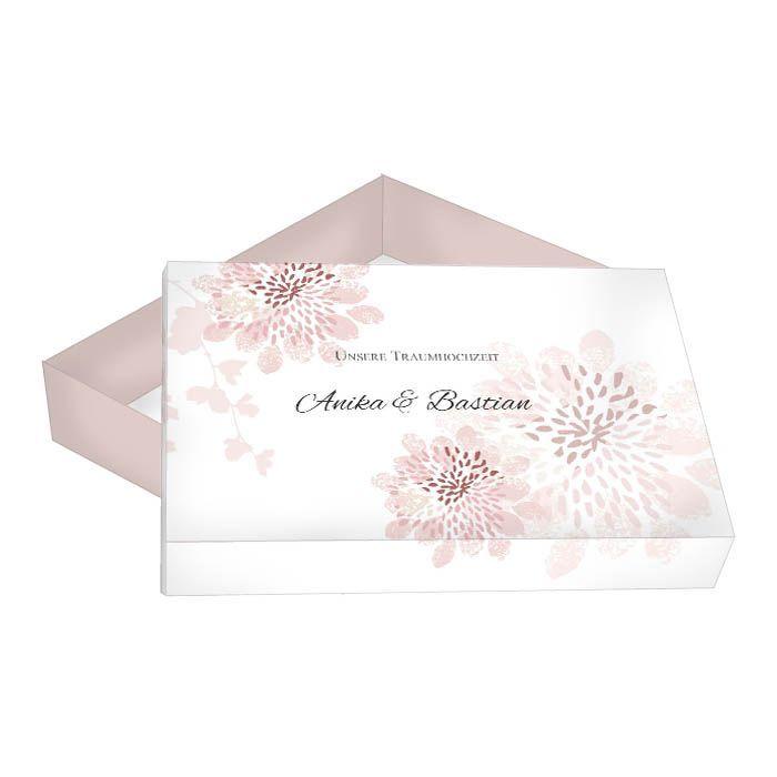 Große Geschenkbox für Gastgeschenke zur Hochzeit in Altrosa