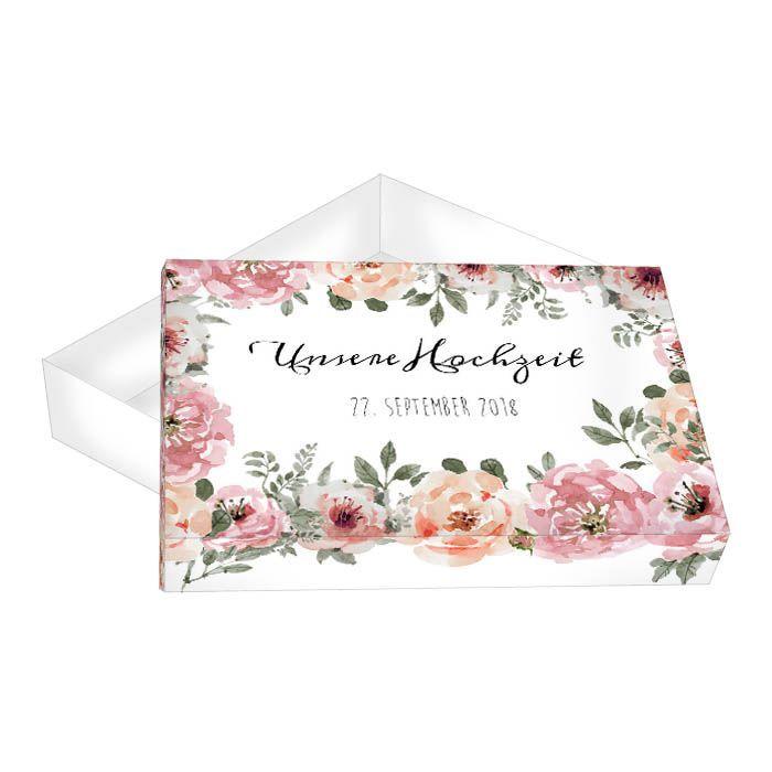 Romantische Geschenkbox im Watercolordesign mit Blumen