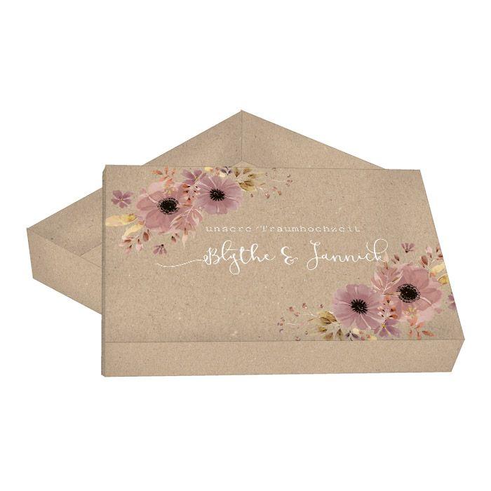Große Geschenkbox in Kraftpapieroptik zur Vintage Hochzeit