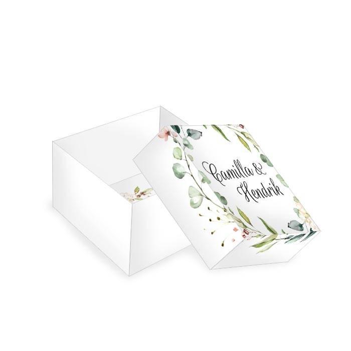 Kleine Geschenkbox zur Hochzeit im Greenery Stil mit Blättern