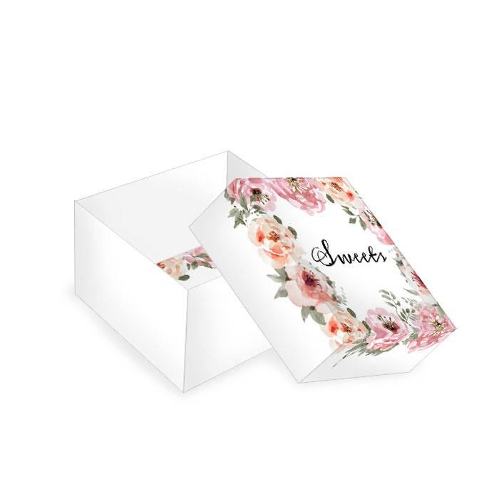 Kleine Geschenkbox für Gastgeschenke mit Aquarell Blumen