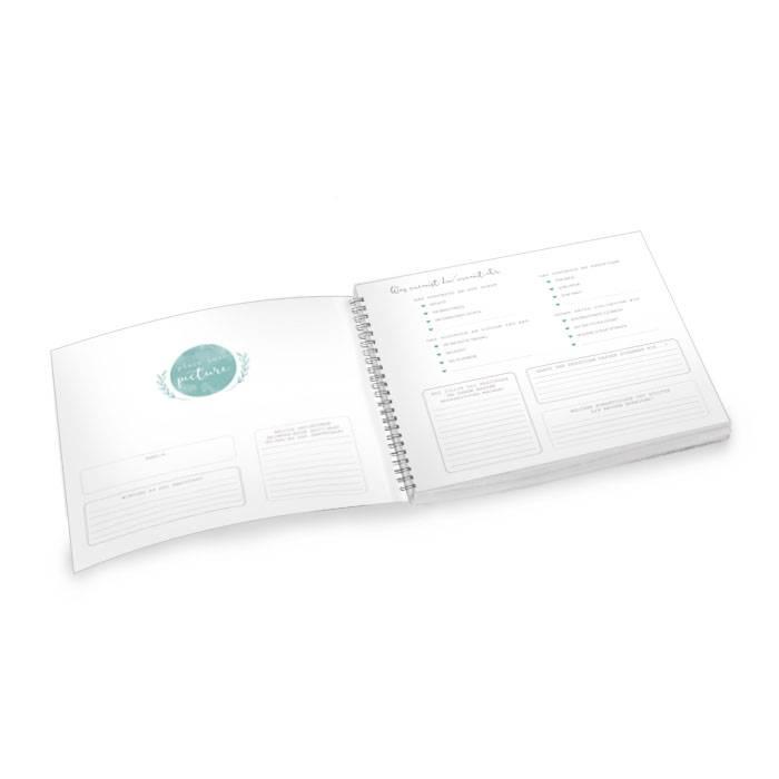 Inhaltsseiten für Gästebuch zur Hochzeit mit Fragenkatalog