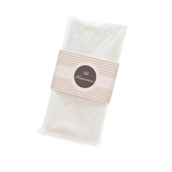 Banderole für Freudentränen Taschentücher mit braunen Streifen