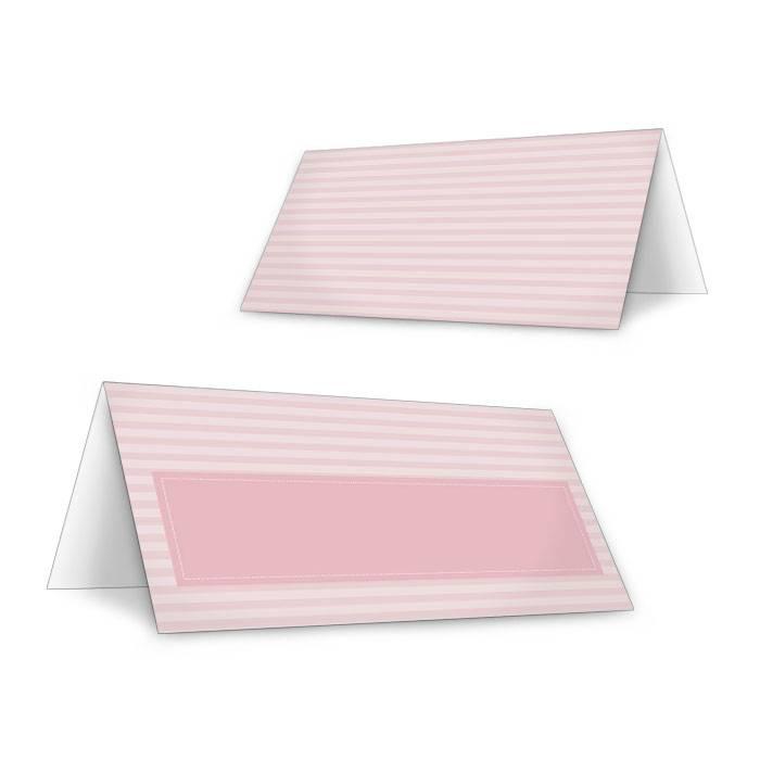 Tischkarte zur Hochzeit im Vintage Streifendesign in Rosa