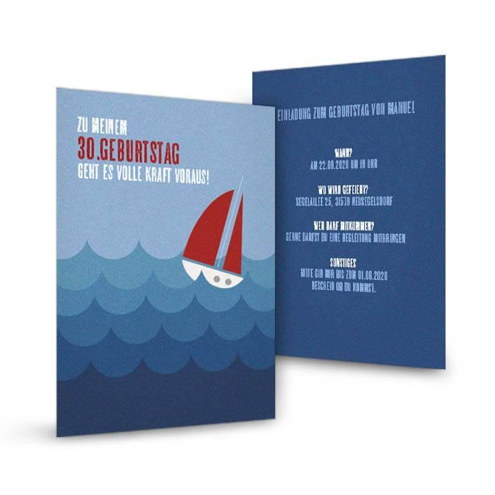 Geburtstagseinladung für Segler mit Segelboot