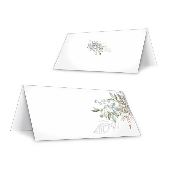 Greenery Tischkarte mit Aquarell Zweigen zum Beschriften