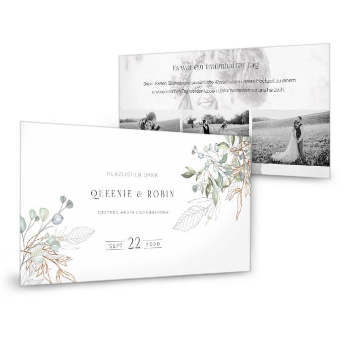 Greenery Hochzeitsdanksagungmit Aquarell Zweigen und Fotos