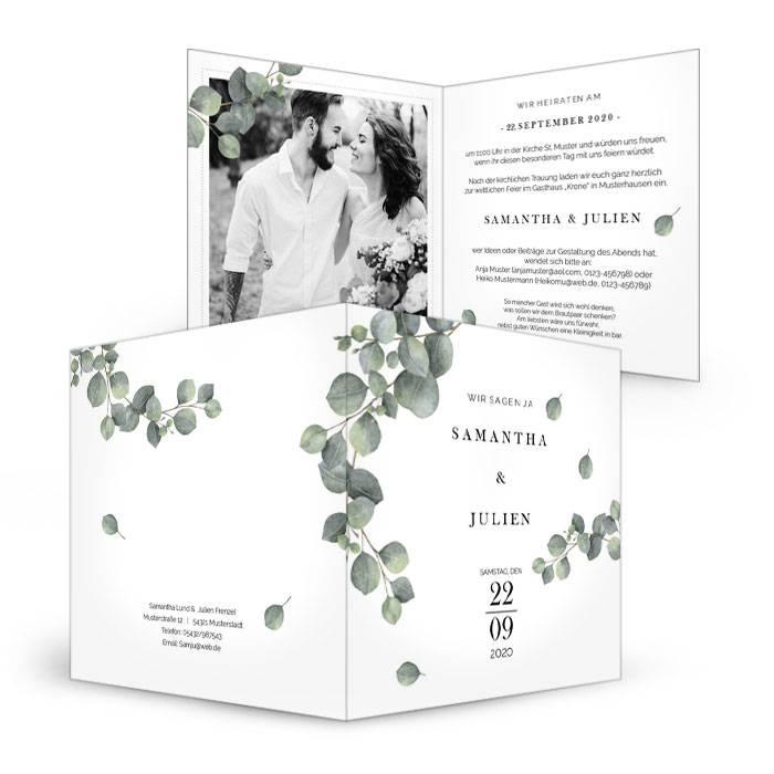 Greenery Hochzeitseinladung mit Eukalyptus als Klappkarte