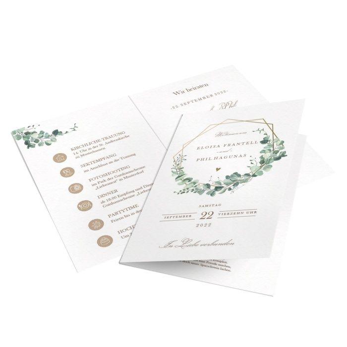 Greenery Hochzeitseinladung mit Eukalyptus und goldenen Rahmen