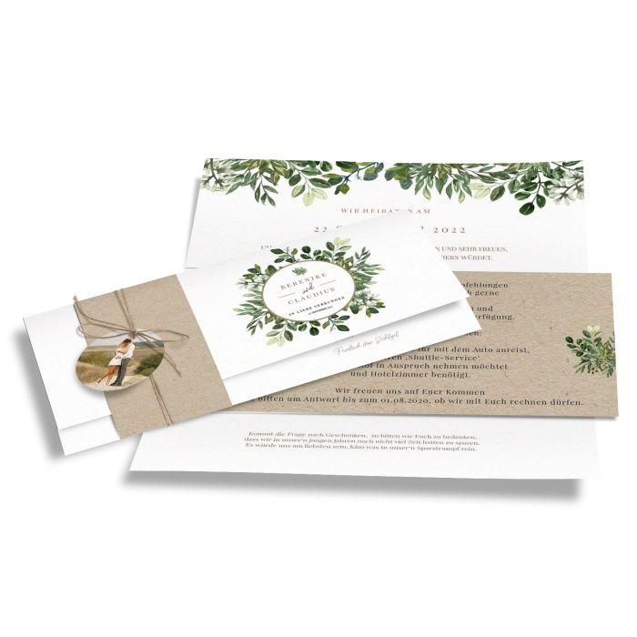 Greenery Hochzeitseinladung mit Eukalyptus und Kraftpapieroptik