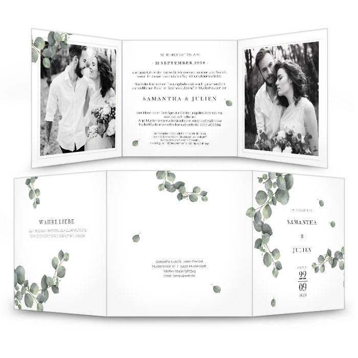 Greenery Hochzeitseinladung mit Eukalyptuszweig als Wickelfalz