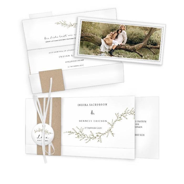 Greenery Hochzeitseinladung mit Fine Art Elementen