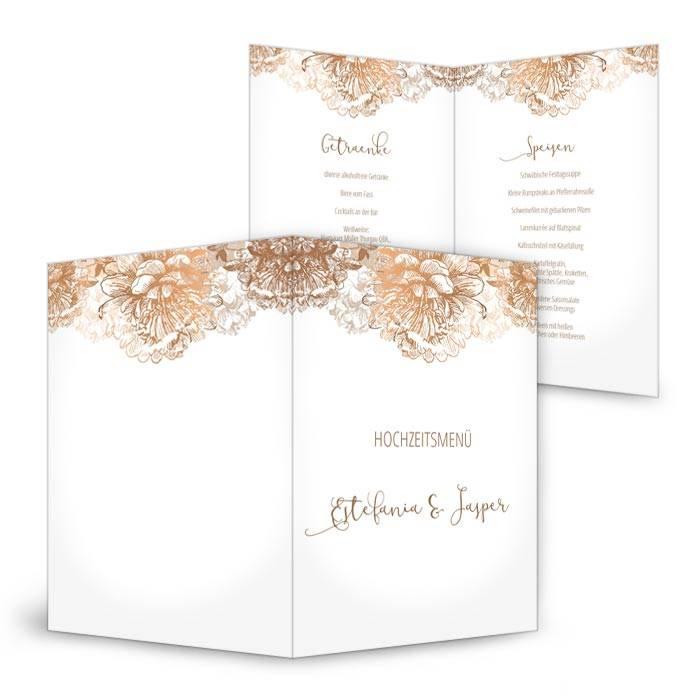 Menükarte zur Hochzeit in Weiß mit floralen Ornamenten in Kupfer