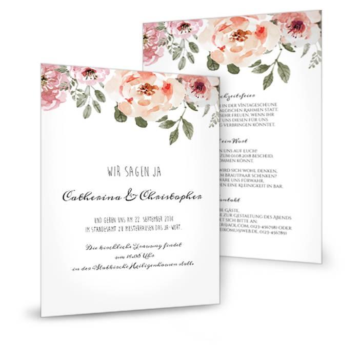 Elegante große Postkarte als Hochzeitseinladung mit Rosen
