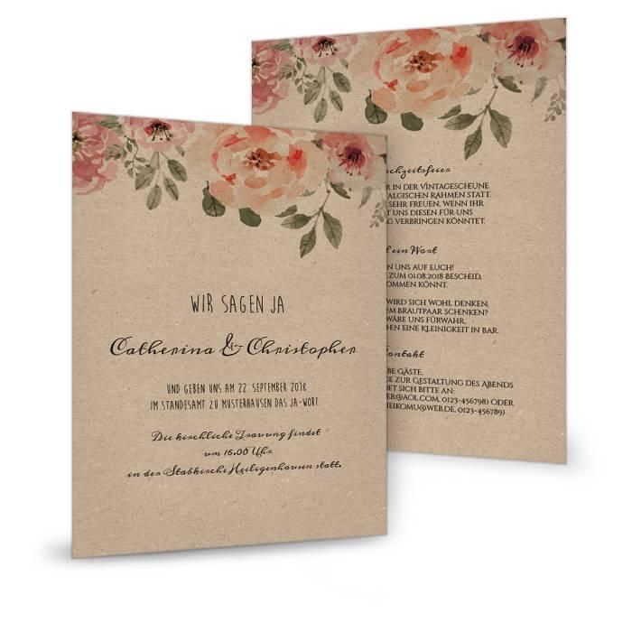 Postkarte als Hochzeitseinladung mit Rosen in Kraftpapieroptik