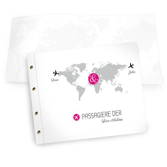 Großes Gästebuch mit Weltkarte und Flugzeugen in Pink