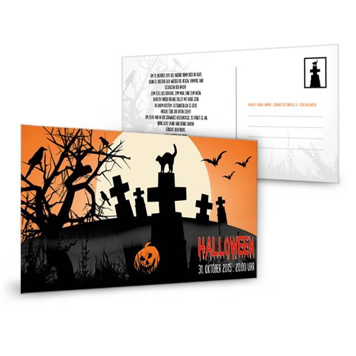 Gruselige Halloweenkarte mit Friedhof in Orange und Schwarz