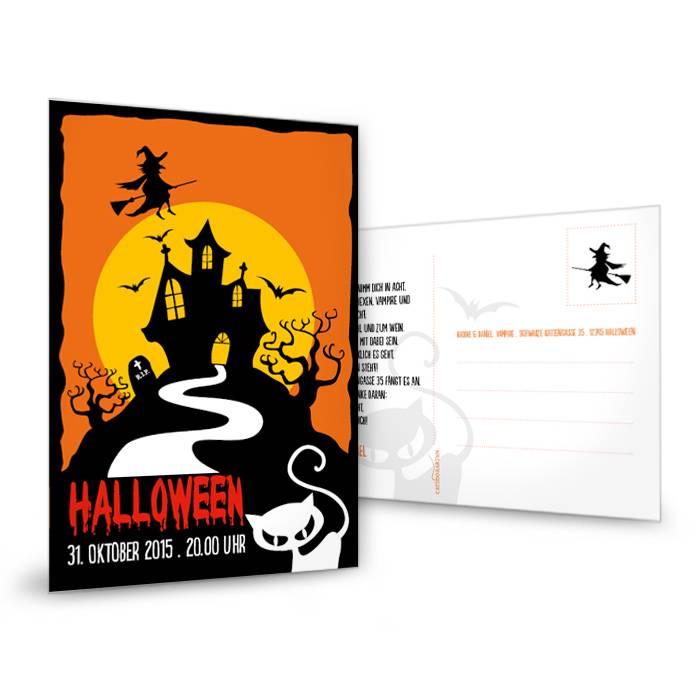 Halloweenkarte in Orange mit gruseligem Haus und Katze