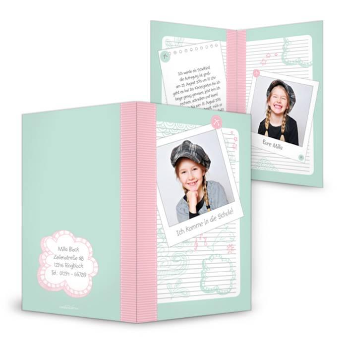 Einschulungskarte im Schulheft-Look in Rosa-Minze
