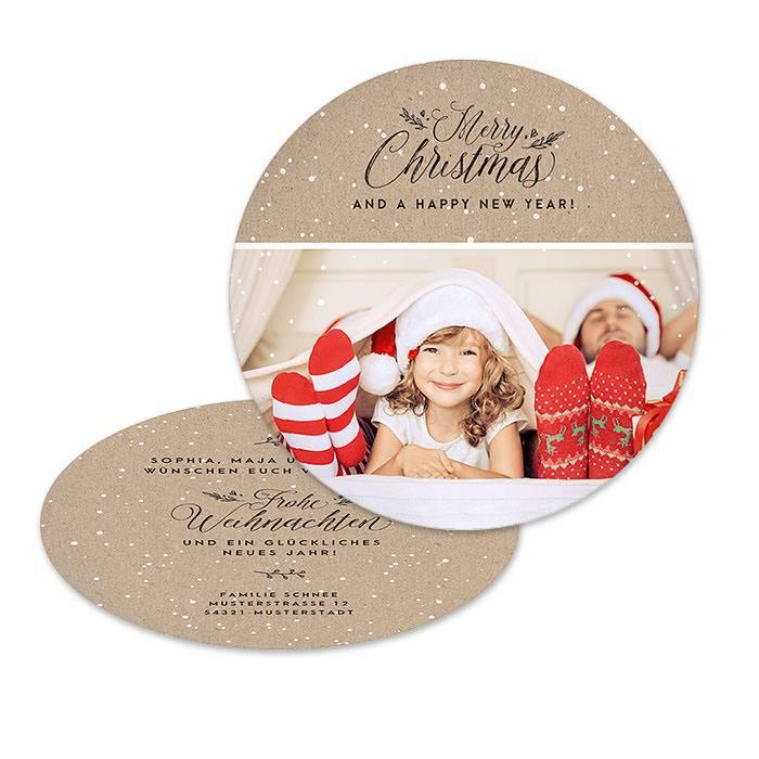 Runde Weihnachtskarte in Kraftpapieroptik mit Foto