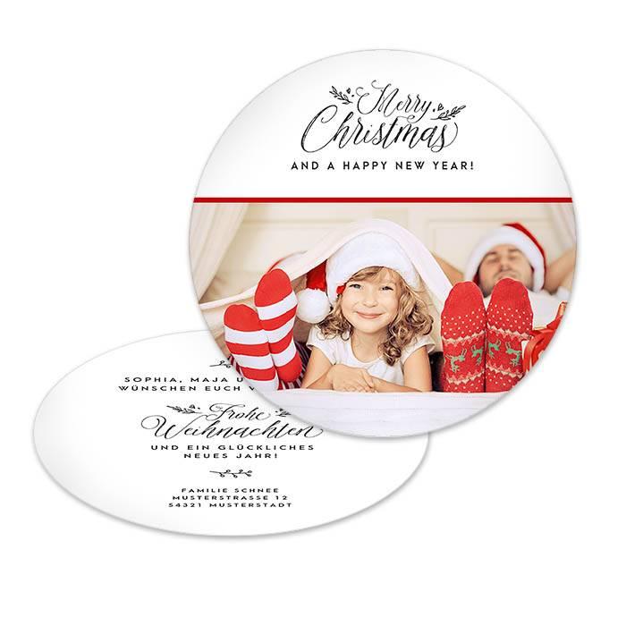 Runde Grußkarte zur Weihnachten - Merry Christmas