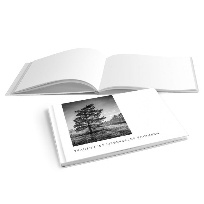 Hardcover Kondolenzbuch mit Baum und Sonnenstrahlen