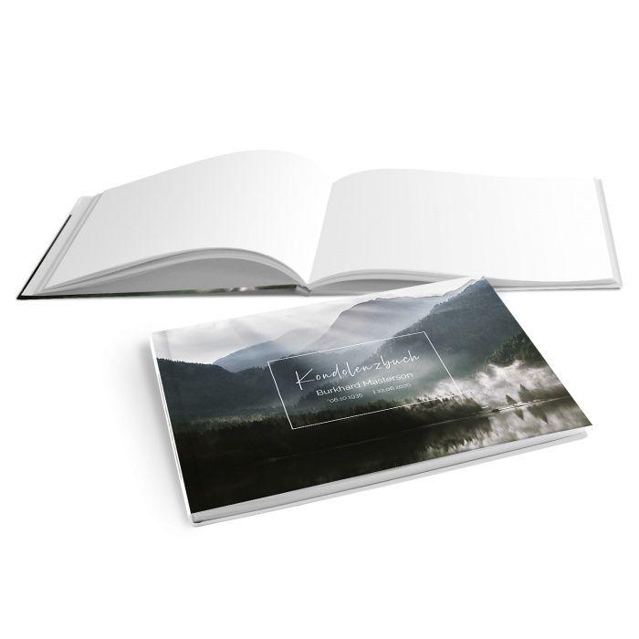 Hardcover Kondolenzbuch mit Bergsee und Sonnenstrahlen