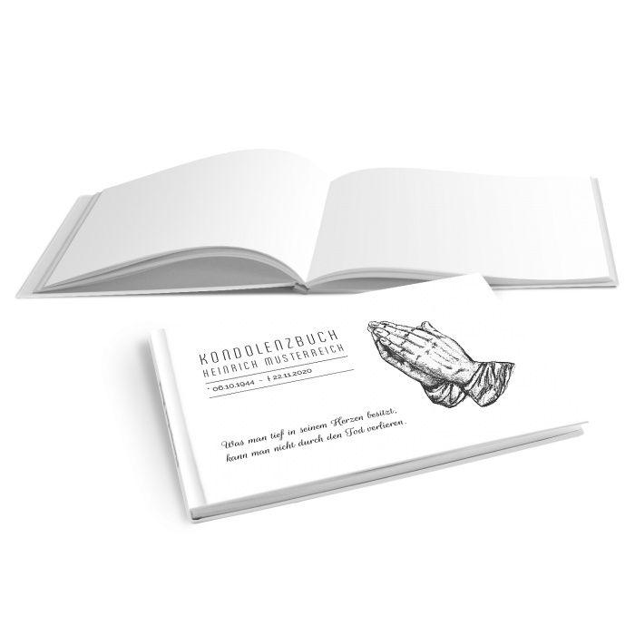 Hardcover Kondolenzbuch mit betenden Händen