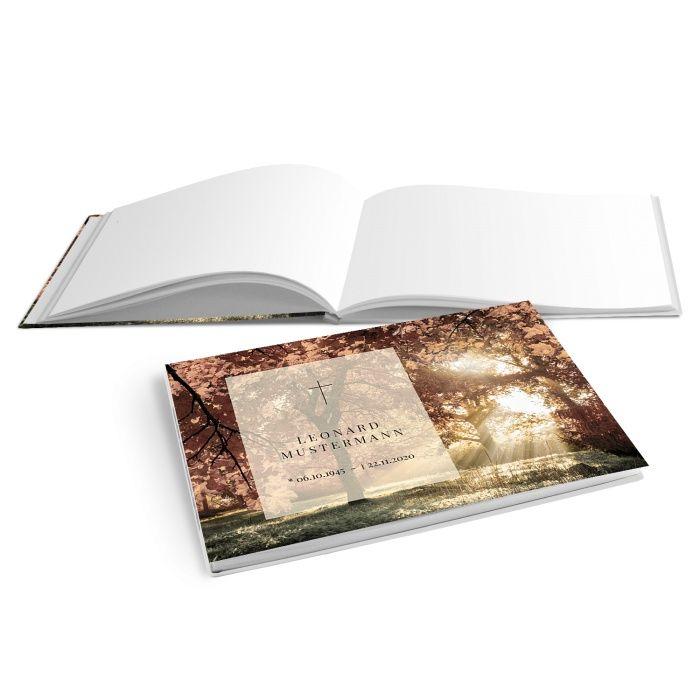 Hardcover Kondolenzbuch mit Waldmotiv und Sonnenstrahlen