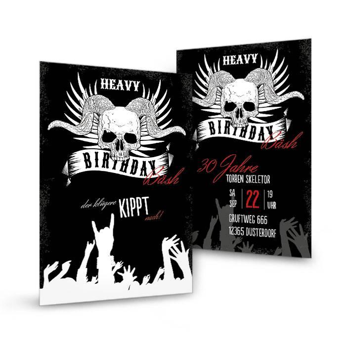 Geburtstagseinladung Heavy Metal mit Totenkopf