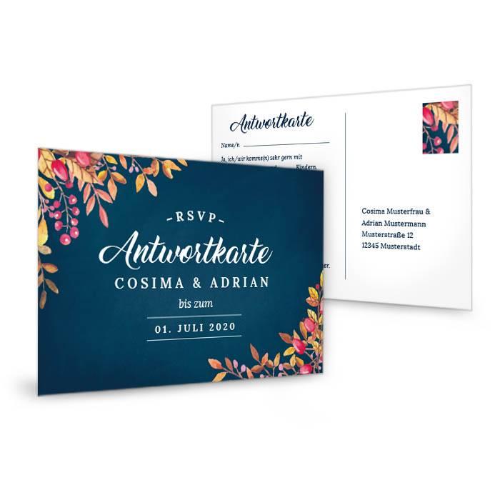 Antwortkarte zur herbstlichen Hochzeitseinladung in Dunkelblau