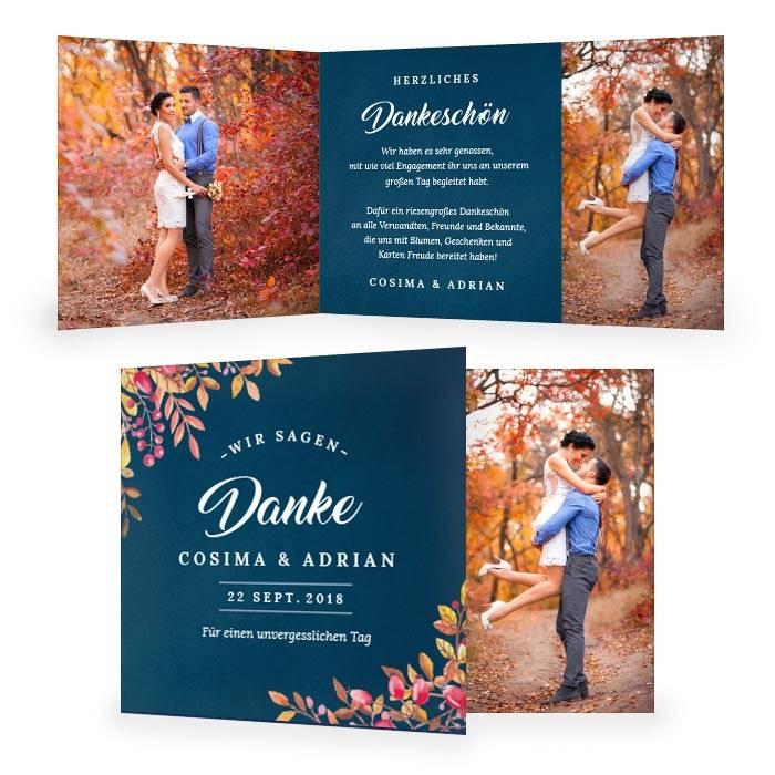 Danksagung zur Herbst Hochzeit in Dunkelblau mit Blättern