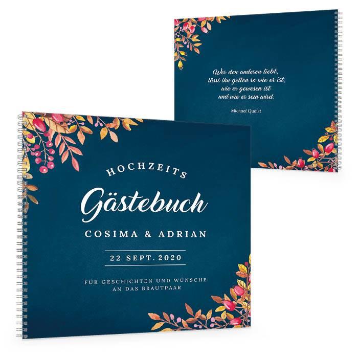 Herbstliches Gästebuch mit Blättermotiv in Dunkelblau
