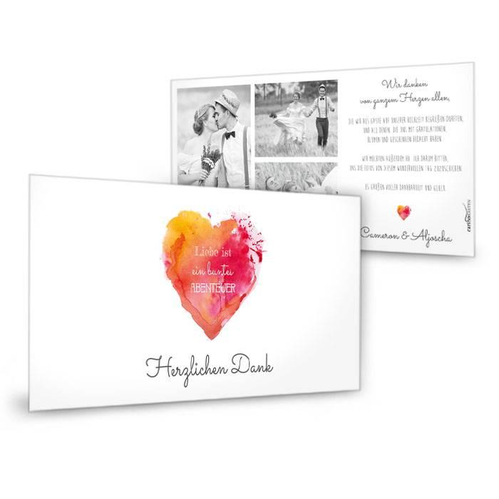 Hochzeitsdanksagung mit Watercolor Herz in Rot Orange