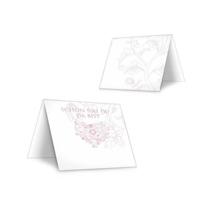Romantische Tischkarte zur Hochzeit mit Herz in Weiß Rosa