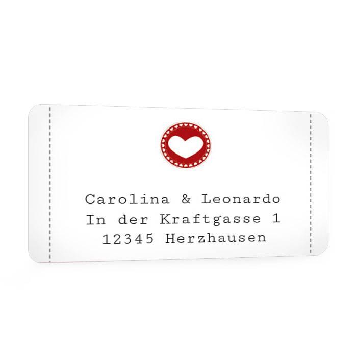 Adressaufkleber für die Hochzeitspost in Weiß mit Herz