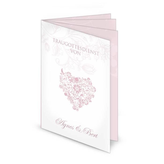 Klassiches Kirchenheft in Weiß und Rosa mit floralem Herz