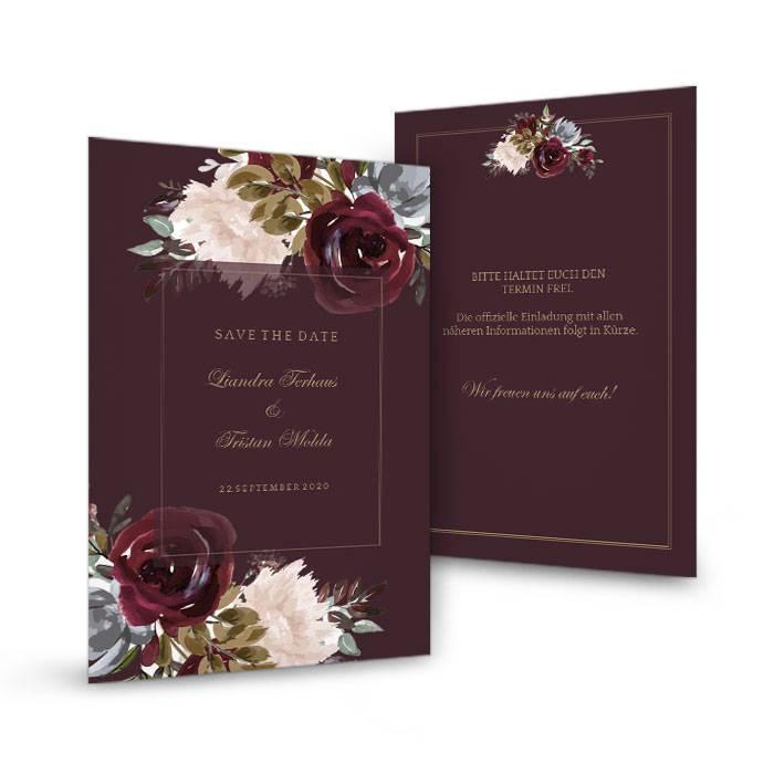 Save the Date Karte zur Hochzeit mit Rosen in Burgunder