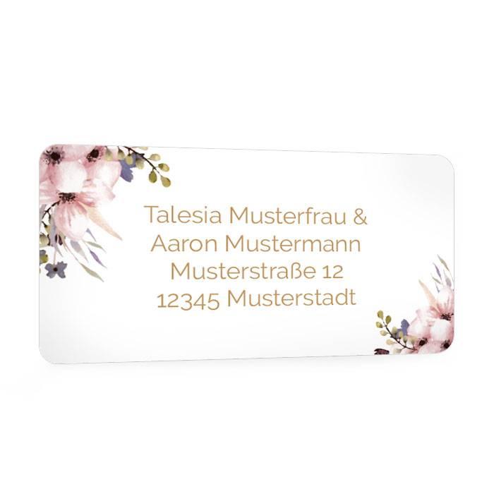 Absenderaufkleber zur Hochzeitseinladung mit Aquarellblumen
