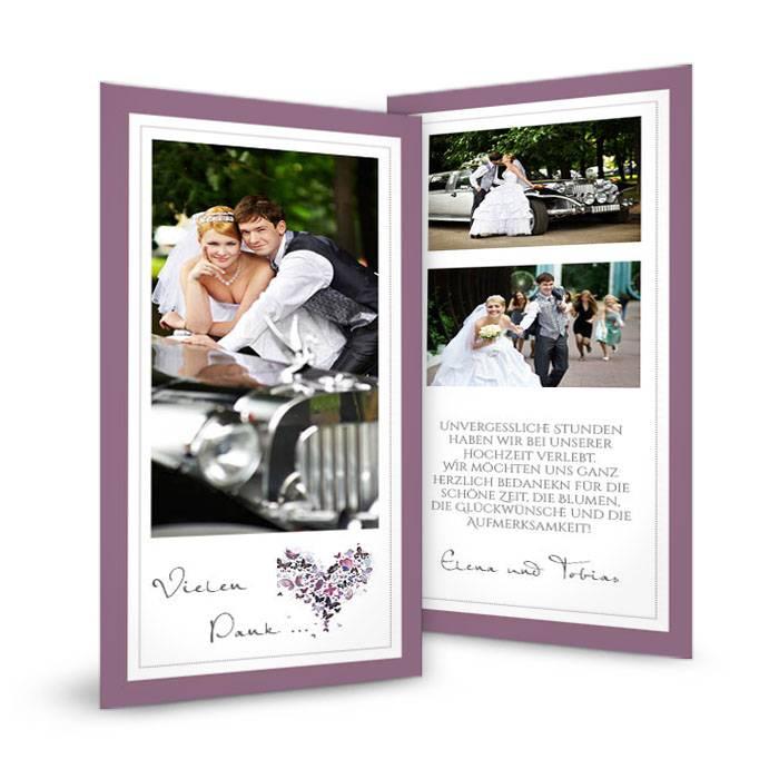Danksagung zur Hochzeit als Postkarte mit Schmetterlingen