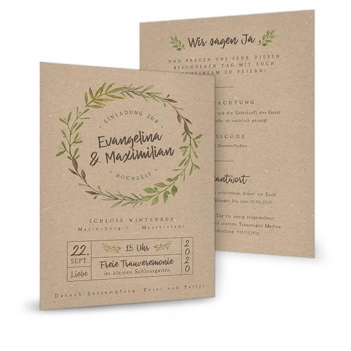 Einladung zur Greenery Hochzeit im Kraftpapierlook mit Blättern