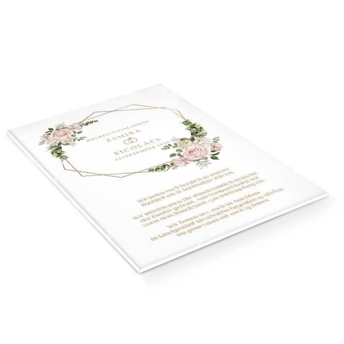 Einladung zur Hochzeit mit Aquarellrosen auf Acryl