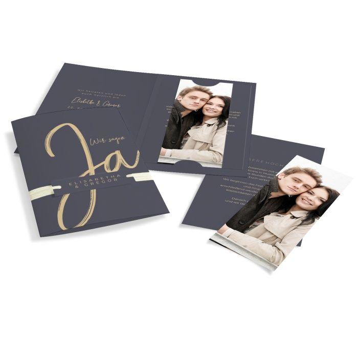 Elegante Hochzeitseinladung mit Einsteckkarten und Anhänger