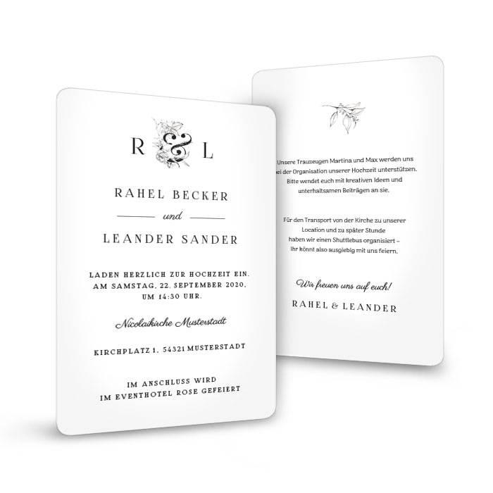 Hochzeitseinladung als Postkarte mit runden Ecken und Monogramm