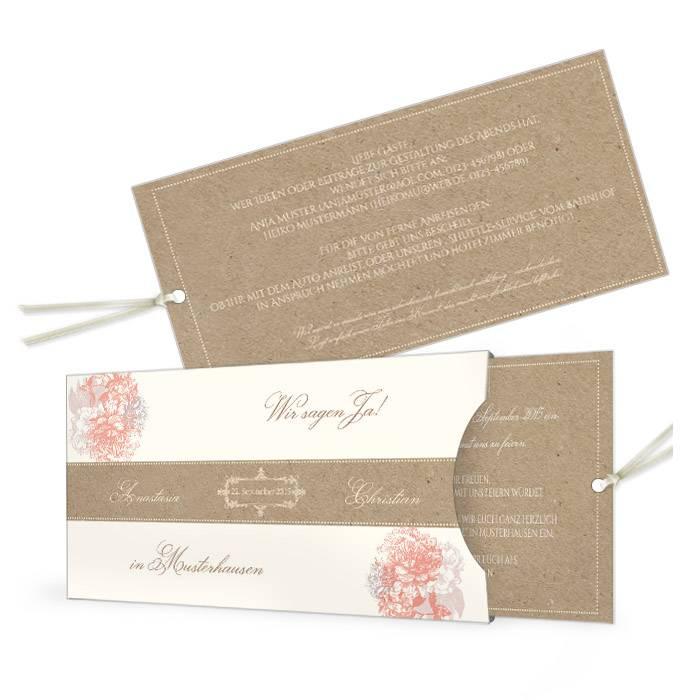 Hochzeitseinladung im Kraftpapierstil als Einsteckkarte