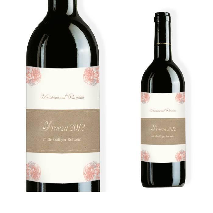 Weinflaschenetikett zur Hochzeit im Landhausstil in Apricot